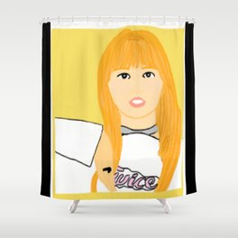 Knock Knock! Momo Yellow Shower Curtain