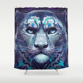 Snow Leopard Late Night Shower Curtain