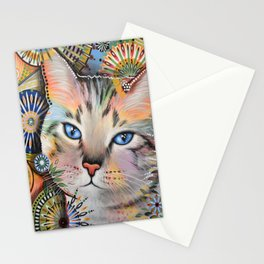 Aslan ... Abstract cat art painting, by Amy Giacomelli Stationery Cards