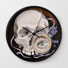 Stillife with skull, lavender and lovers eye Wall Clock