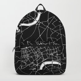 London Black on White Street Map Backpack