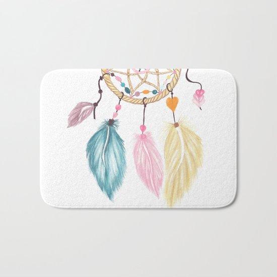 Bright watercolor boho dreamcatcher feathers Bath Mat