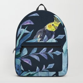 Cockatiel with tropical leaves and dark blue background Backpack