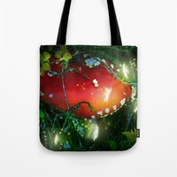 secret life Tote Bags featuring Secret Life Of Pixies by Jia Sen