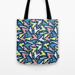 Memphis Style Camouflage Shapes Seamless Vector Pattern, Drawn Tote Bag