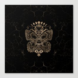 Mystical Pentagram Ornament Butterfly and Moons Canvas Print