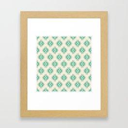 Mid Century Modern Bang Pattern 272 Green Beige Framed Art Print
