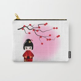 Japanese kokeshi doll at sakura blossoms Carry-All Pouch