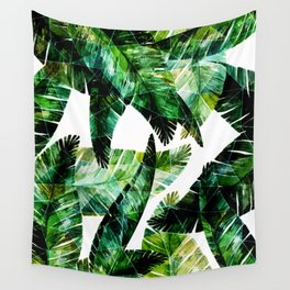 Green leaves of a banana. 2 Wall Tapestry