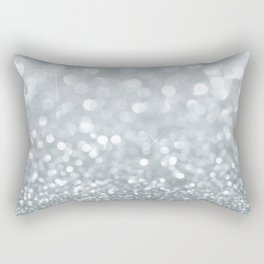 White & Silver Glitter Sparkle Rectangular Pillow