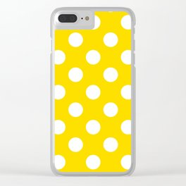 Sizzling Sunrise - yellow - White Polka Dots - Pois Pattern Clear iPhone Case