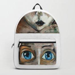 Oleo de mujer de ojos azules Backpack