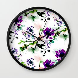 Abstract watercolor flowers purple Wall Clock