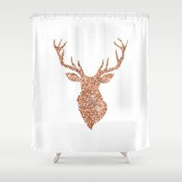 Sparkling reindeer blush gold Shower Curtain