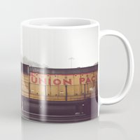 train Mugs featuring Train by Kristine Ridley Weilert