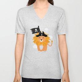 Lion Pirate Captain T-Shirt for all Ages D1p85 Unisex V-Neck