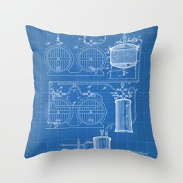 Brewery Patent - Beer Art - Blueprint Throw Pillow