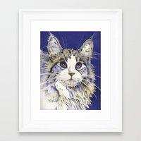 monty python Framed Art Prints featuring Monty by Cat Art by Lori Alexander