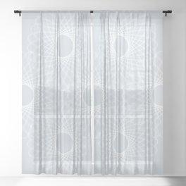 mathematical rotating roses - ice gray Sheer Curtain