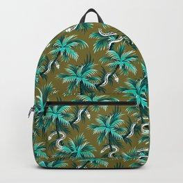 Snake Palms - Light Teal Mustard Backpack