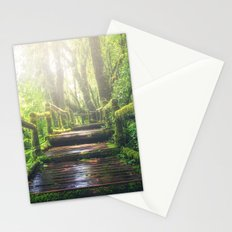 Green Jungle Forest Path Stationery Cards