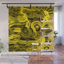 Sparkling doodle spiral spots on yellow. Wall Mural