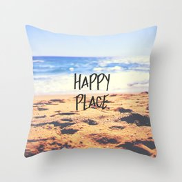 Happy Place Beach Throw Pillow
