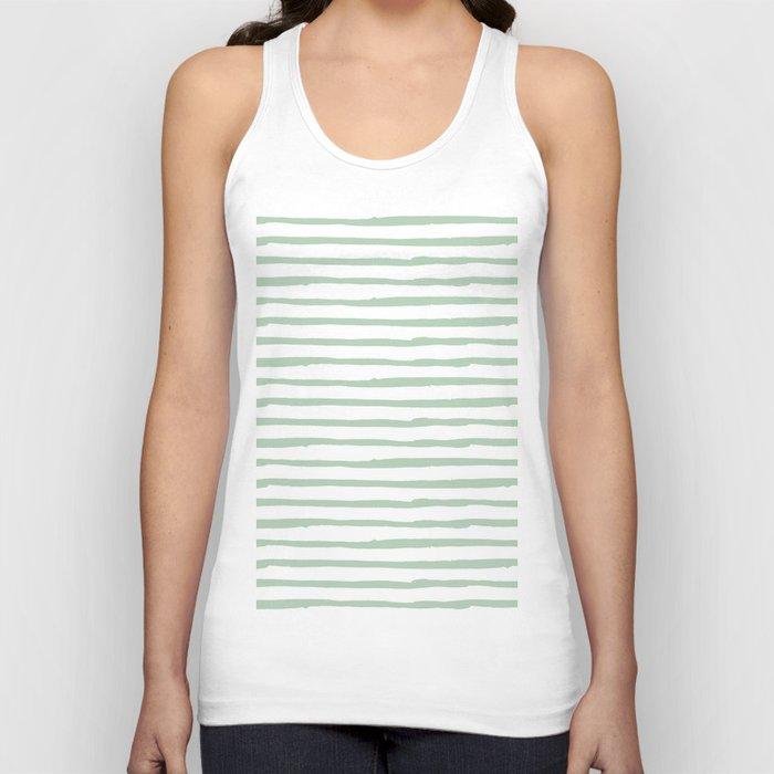Elegant Stripes White and Pastel Cactus Green Unisex Tanktop