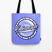 volkswagen Tote Bags featuring Volkswagen  by Barbo's Art