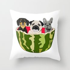 Watermelon Dogs Throw Pillow