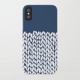 Half Knit Navy iPhone Case
