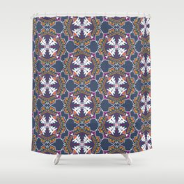 apache, tribal pattern in grey Shower Curtain