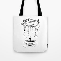 Abstract Whimsical illustration, Rain, cloud, umbrella, Black and white, pen and ink Tote Bag