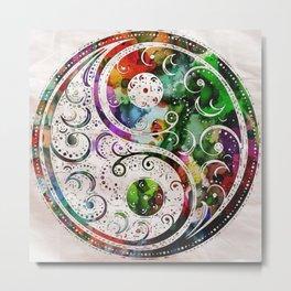 Yin Yang Zen Art Abstract Paintings Modern Watercolor Robert R Splashy Art Metal Print