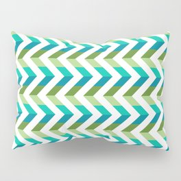 Chevron Picnic Time - Geometric pattern with blue and green Pillow Sham