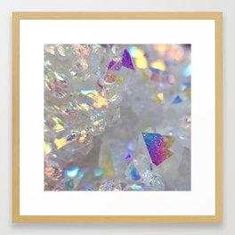 Angel aura opal iridescent quartz holographic new age opal druse geode agate faux druzy photograph Framed Art Print