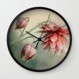 Delicate red columbine flower Wall Clock