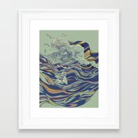 huebucket Framed Art Prints featuring OCEAN AND LOVE by Huebucket