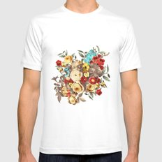 Watercolors Floral Pattern Mens Fitted Tee White MEDIUM