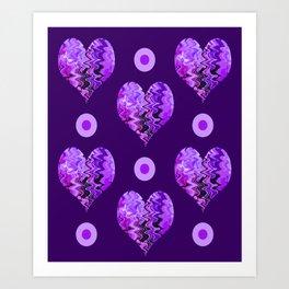 purple heart and  violet spots Art Print
