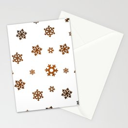 Snowflakes (Bronze and Black on White) Stationery Cards