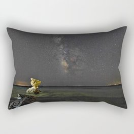 Rocky coast under the Milky Way in Andros, Greece Rectangular Pillow