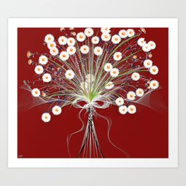 Bouquet Of Daisies Red Background Art Print