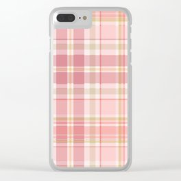 Pink Plaid Clear iPhone Case