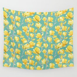 Yellow Magnolia Spring Bloom Wall Tapestry