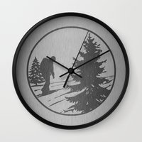hiking Wall Clocks featuring Hiking by Paul Simms