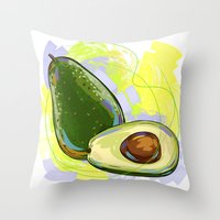 vietnam Throw Pillows featuring Vietnam Avocado by Vietnam T-shirt Project