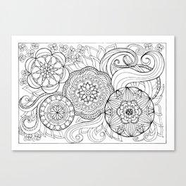 outline zen floral pattern 2 Canvas Print