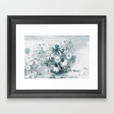 teal flowers on worn wood Framed Art Print