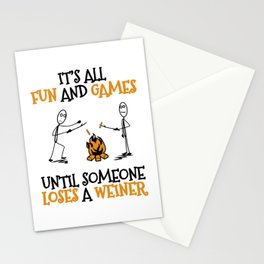 Camping Gift Fun and Games Until Someone Loses A Weiner Camp Trip Stationery Cards